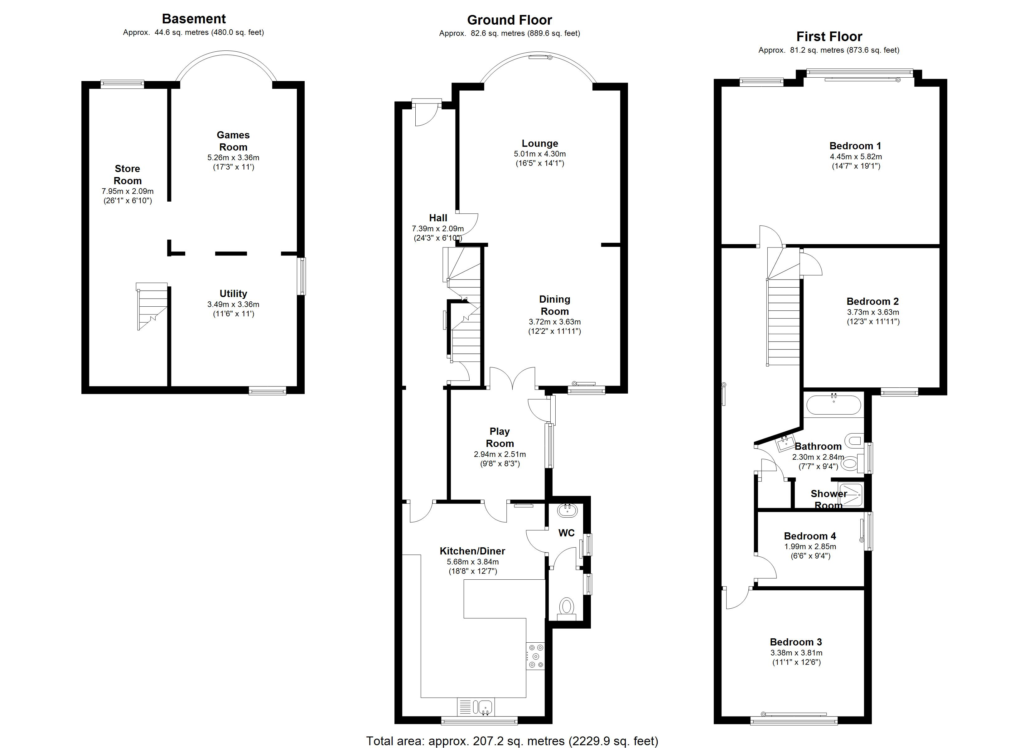 The House Photographer - Property Photography - Floorplan black and white Property Floor Plans Estate Agents Floor Plans